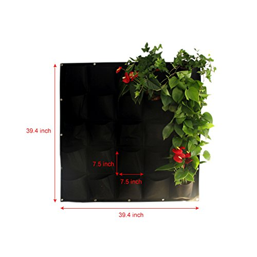Mr. Garden Vertical Garden Grow Bag, Wall Hanging Planter Bag (25, black)