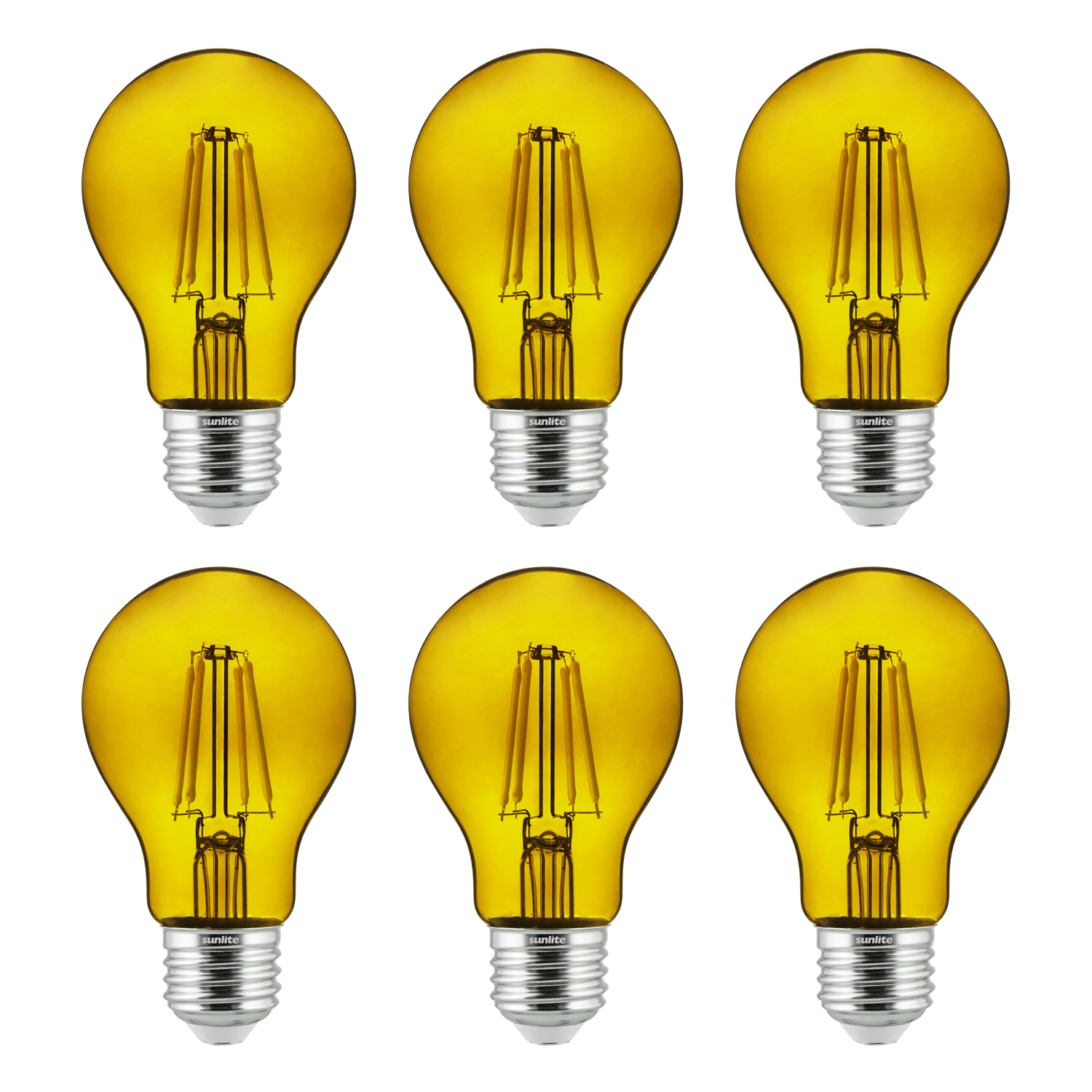 6-Pack Sunlite LED Transparent Yellow A19 Filament Bulbs, 4.5 Watts, Dimmable, UL Listed