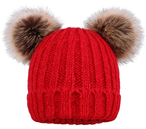 Arctic Paw Cable Knit Beanie with Faux Fur Pompom Ears