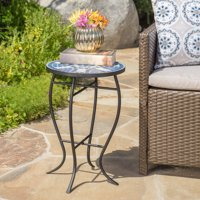 Noble House Kenny Outdoor Ceramic Tile Side Table with Iron Frame, Blue & White