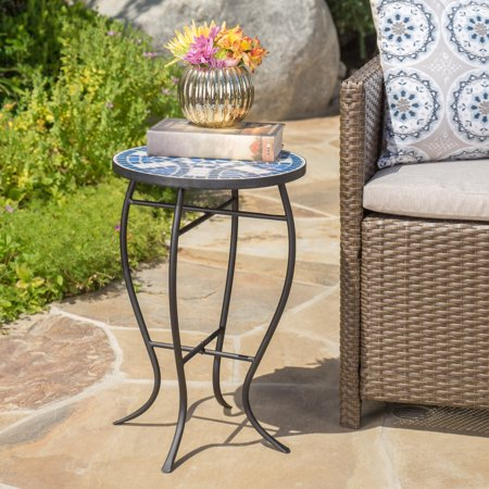 Noble House Kenny Outdoor Ceramic Tile Side Table with Iron Frame, Blue and White ()