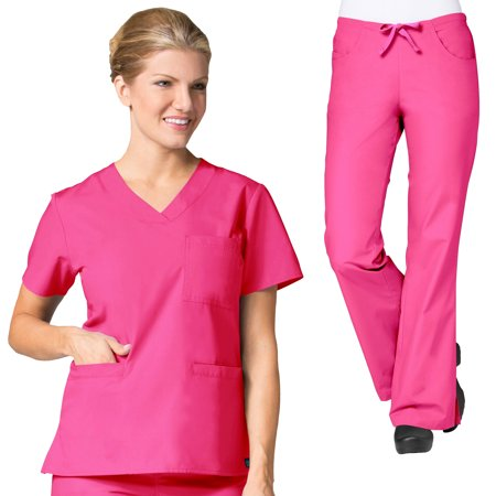 Maevn CORE Women's Curved V-neck Scrub Top & Classic Flare Scrub Pant Set [XXS - 5XL, FREE -