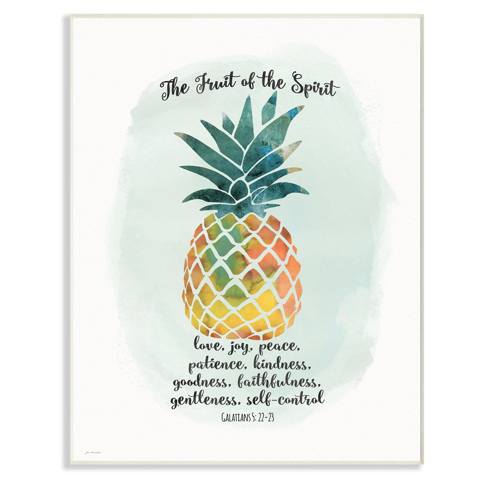 The Stupell Home Decor Collection The Fruit of the Spirit Multicolored Pineapple Wall Plaque Art