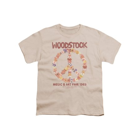 Woodstock Music Festival Floral Peace Symbol Distressed Boys Youth T