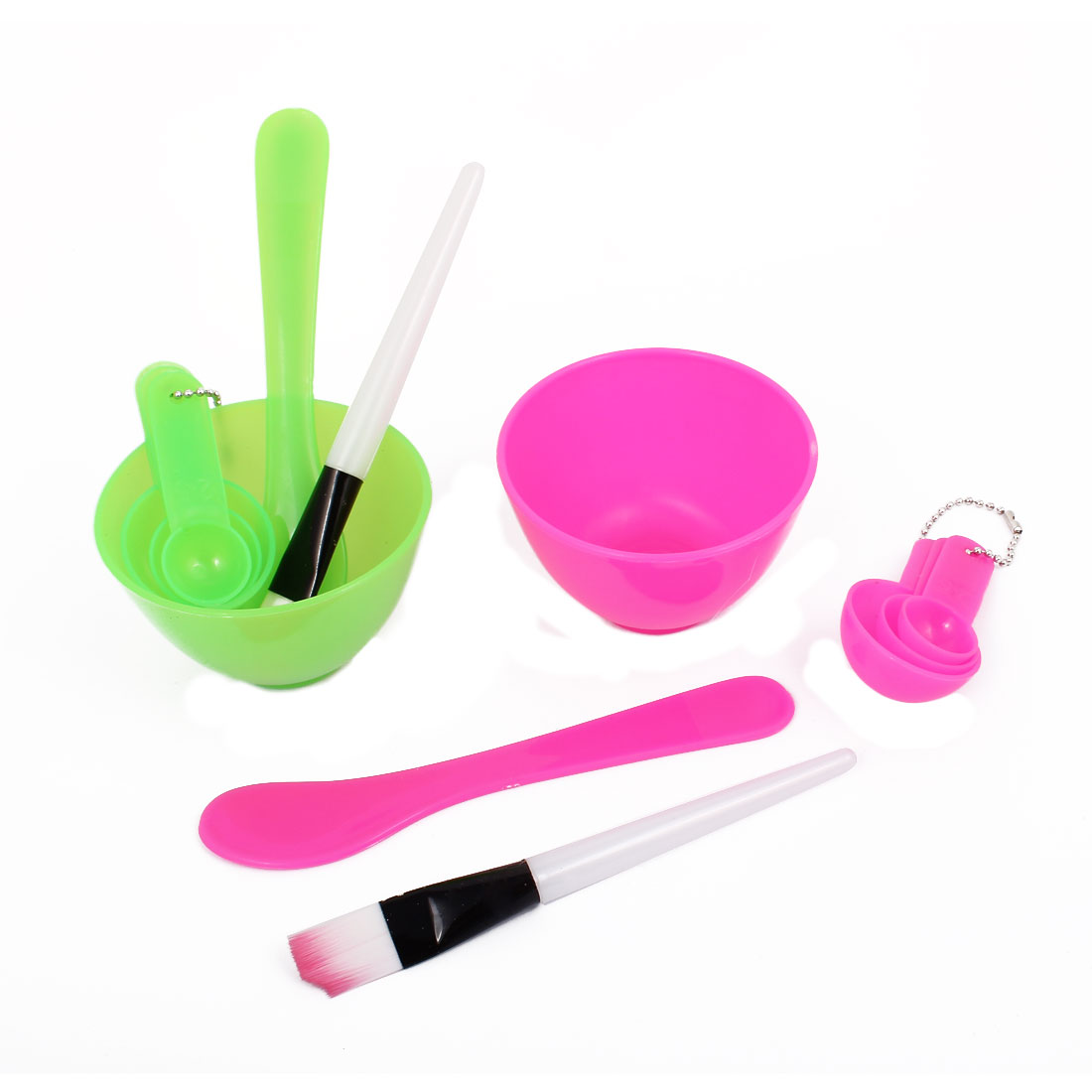 Home Plastic Facial Mask Bowl Measuring Spoon Stick Brush Green Fuchsia 2 Sets