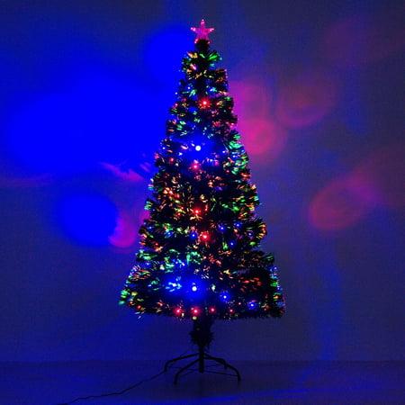 HomCom Artificial Fiber Optic and LED Prelit Holiday Christmas Tree ()