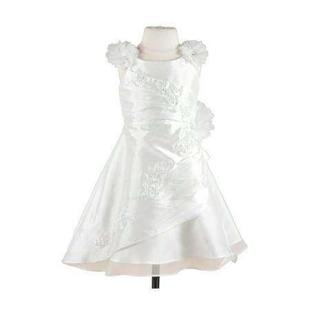 Fairy Flower Dress (Efavormart Fairy White Floral Tulle Flower Girl Dress Birthday Girl Dress Junior Flower Girl Wedding Party Gown Girls)