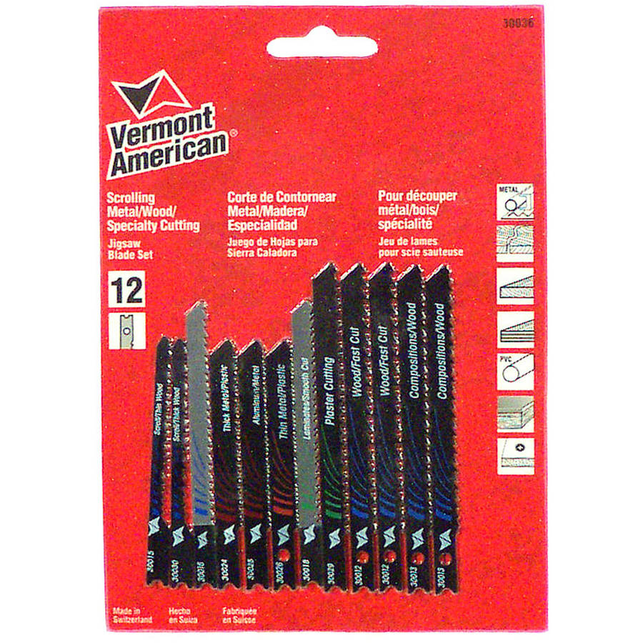 Vermont American 30036 12-Piece Assorted U-Shank Jig Saw Blade Set