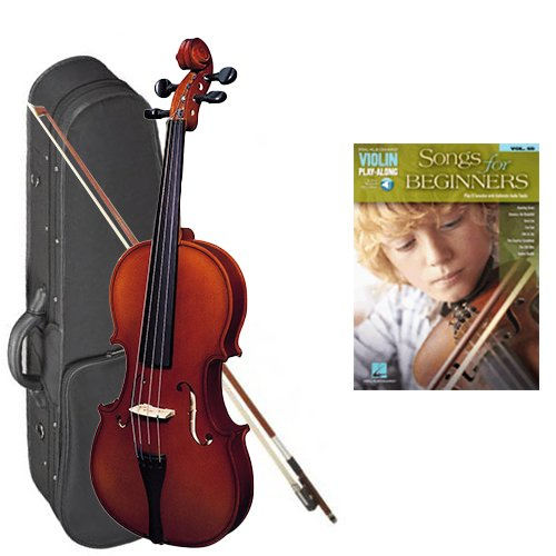 Strunal 220 Student Violin Songs for Beginners Play Along Pack - 1/2 Size European Violin w/Case & Play Along Book