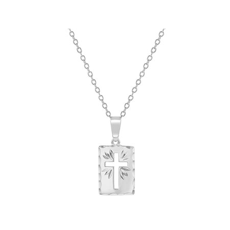 925 Sterling Silver Cutout Cross Medal Pendant Necklace Baby Children 16