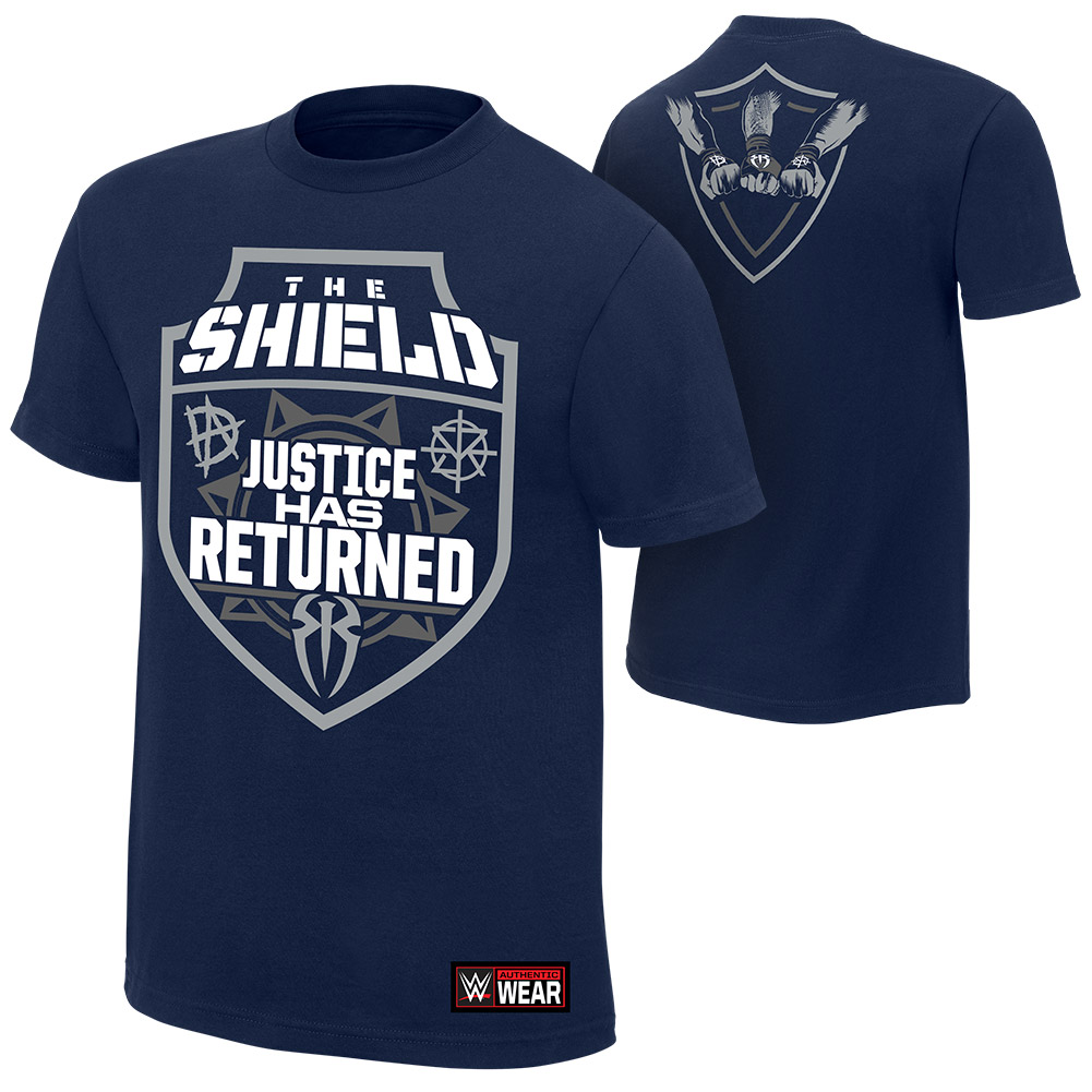 "Official WWE Authentic The Shield ""Justice Has Returned""  T-Shirt Navy Blue Small"