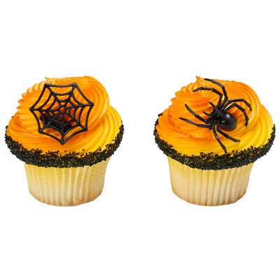 24pack Ghoulish Spider and Web Cupcake / Desert / Food Decoration Topper Rings with Favor Stickers & Sparkle Flakes
