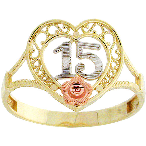 10kt Yellow and Rose Gold Quinceanera Ring