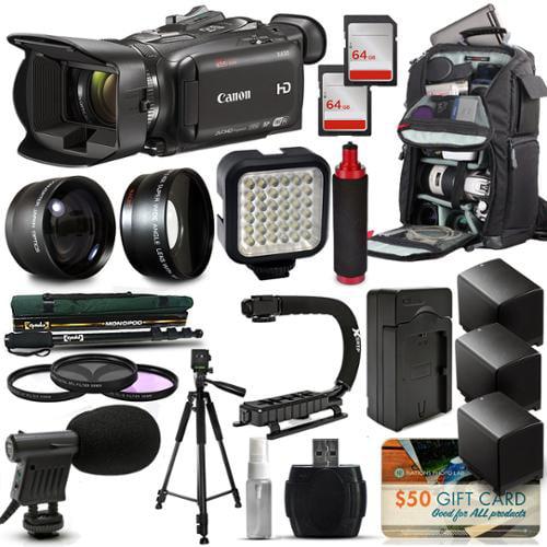 Canon XA35 HD Professional Video Camcorder + Tripod + Monopod + Action Stabilizer + 128GB + LED Light + Backpack + 3 Extra Batteries + HandGrip Handle + Mic + Telephoto Macro Lense Kit + Filter Bundle
