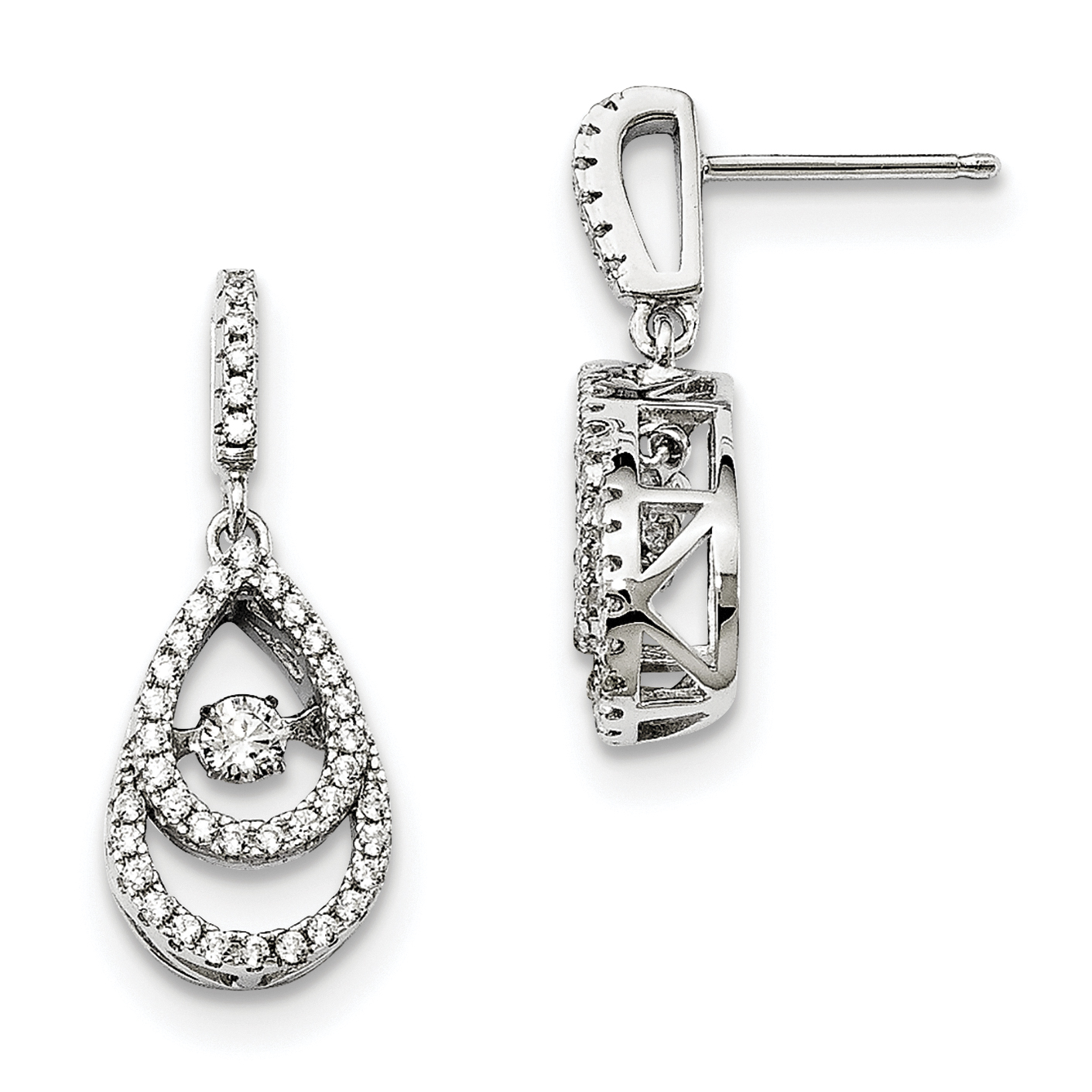 Sterling Silver & Vibrant CZ Brilliant Embers Earrings QMP1398 - image 2 of 2