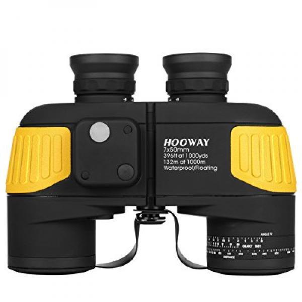 Hooway 7x50 Waterproof Fogproof Military Marine Binoculars w/ Internal Rangefinder & Compass for