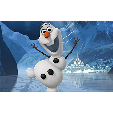 Frozen Olaf Dancing on Snow Ice Edible Cake Topper Frosting 1/4 Sheet Birthday Party (Olaf Birthday Cake)