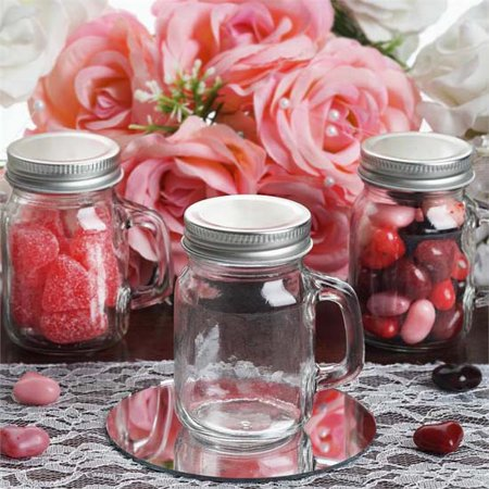 Efavormart 4oz Clear Rustic Bridal Wedding Mason Jars with Handles Wholesale Lot - 12 Jars - Mason Jars Wholesale