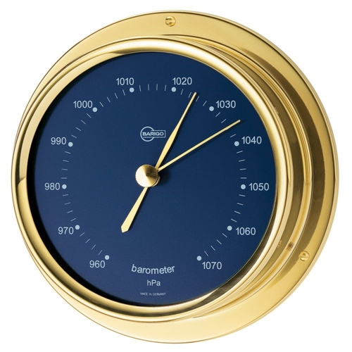 "Barigo Regatta Series Ship's Barometer - Brass Housing - Blue 4"" Dial 184MSBL"