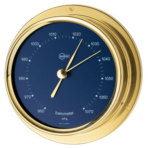 "Barigo Regatta Series Ship's Barometer - Brass Housing - Blue 4"" Dial 184MSBL"