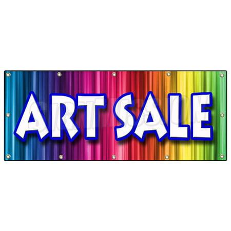 48 x120 art sale banner sign artist paint brush supply canvas