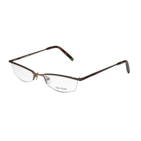 New Vera Wang V106 Womens/Ladies Cat Eye Half-Rim Sand / Havana School Teacher Look Elegant Cat Eye Frame Demo Lenses 50-18-135 Eyeglasses/Eyewear - Cat Eye Frames