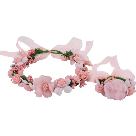 Flower Crown,Kapmore Bohemian Stylish Flower Wreath Halo Headband and Bracelet Set Garland Wreath Flower Headband for Wedding Party Decor (Flower Halo Headband)