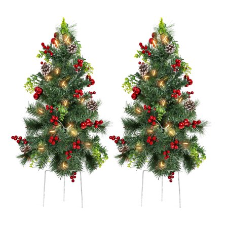 Best Choice Products Set of 2 24.5in Outdoor Battery Operated Pre-Lit Pathway Christmas Trees Holiday Decor for Driveway, Yard, Garden w/ LED Lights, Red Berries, Frosted Pine Cones, Red Ornaments ()