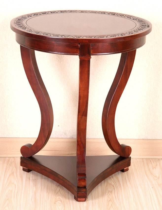 Hand Carved Wood End Table