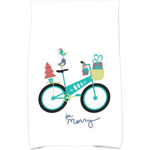 "Simply Daisy 16"" x 25"" Merry Bird Bike Holiday Geometric Print Kitchen Towel by E By Design"