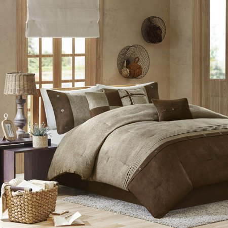 Madison Park Boone King Size Bed Comforter Set Bed in A Bag - Brown, Textured Print â?? 7 Pieces Bedding Sets â?? Micro Suede Bedroom