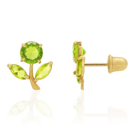 Round Cut Peridot Dandelion Flower Screwback Stud Kid Earrings 14k Yellow Gold