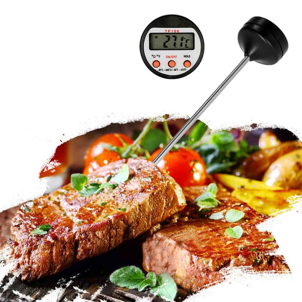 TP100 Digital LCD Mini Thermometer Probe BBQ Portable Water Food Cooking Temperature Tester Data Hold Function