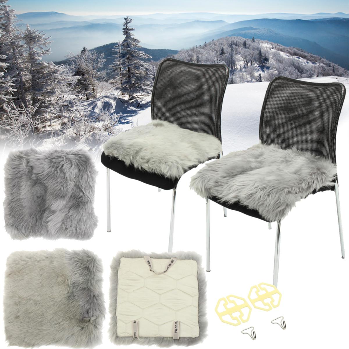 Sheepskin Long Wool Fur Chair Sofa Cushion Furry Warm Car Seat Pad Cushion Cover