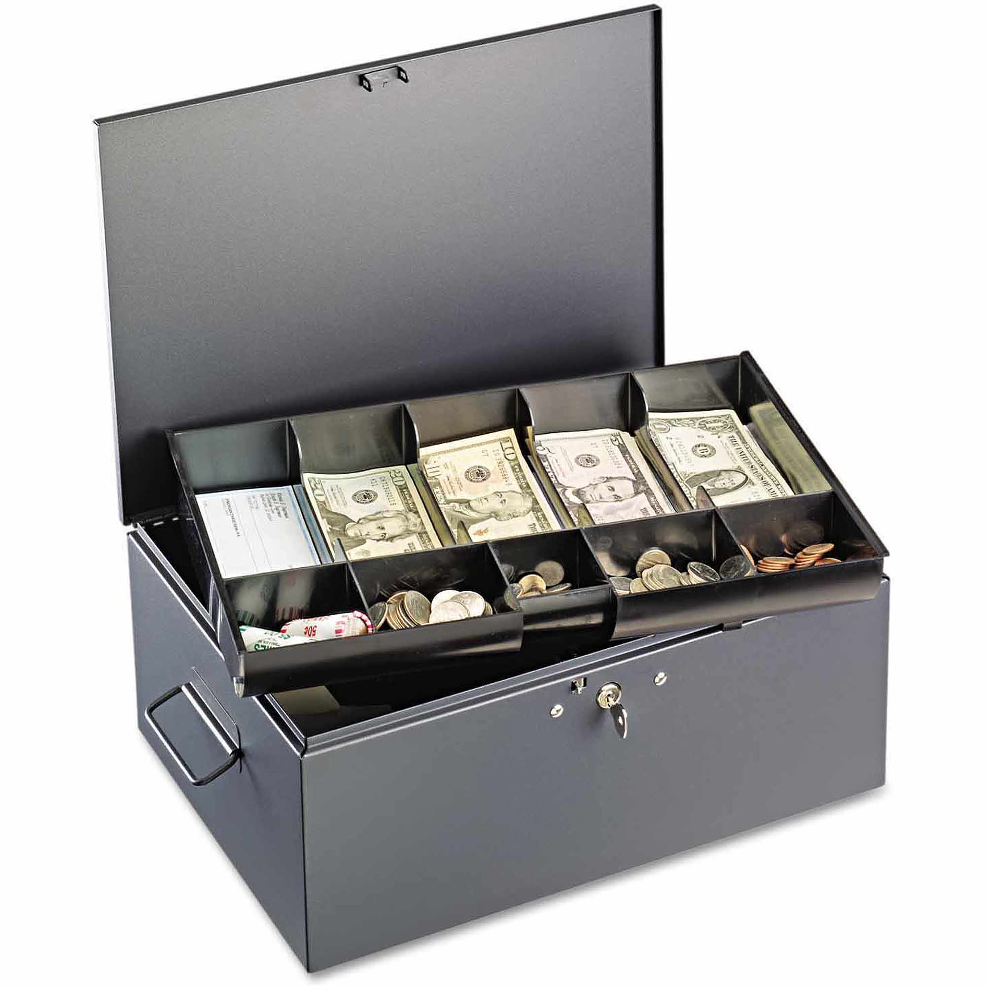 SteelMaster Extra Large Cash Box with Handles, Disc Tumbler Lock, Grey