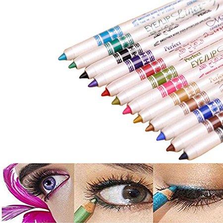 Wowlife Waterproof 12 Ultra Bright colors Durable Eyeliner Eyeshadow Lip Liner Eye Shadow Pen cosmetic Makeup Tools - image 1 of 4