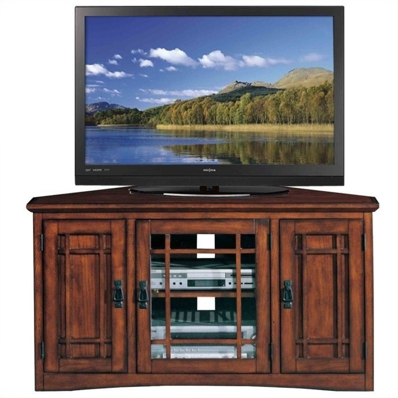 "Leick Furniture Mission 46"" Corner TV Stand with Storage in Oak"