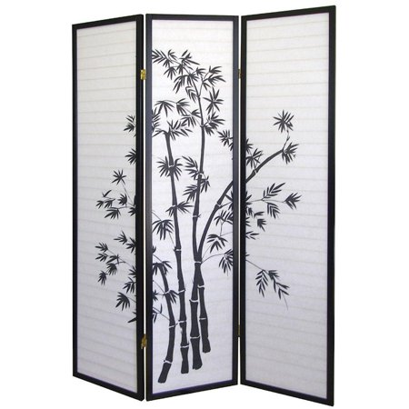 Legacy Decor Black 3 Panel Japanese Oriental Style Bamboo Design Wood Shoji Screen Room Divider - Oriental Screen
