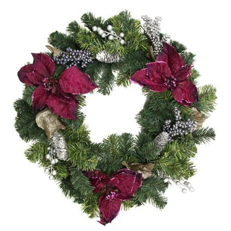 Northlight Seasonal Two-Tone Pine with Poinsettias Pine Cones and Berries Christmas Wreath with Unlit