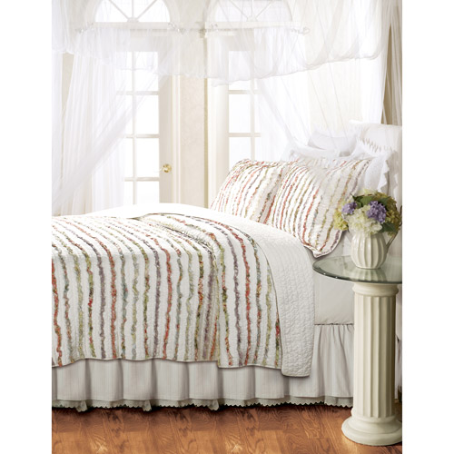 Global Trends Georgina Ruffles Quilt Set, Floral