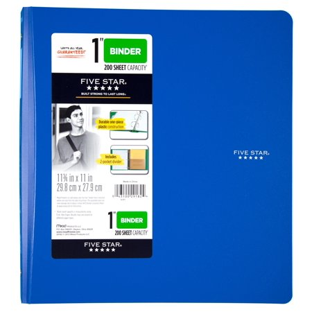 Acco Translucent Poly Ring Binders - Five Star 1 Inch Poly Binder, Blue, 1 Count
