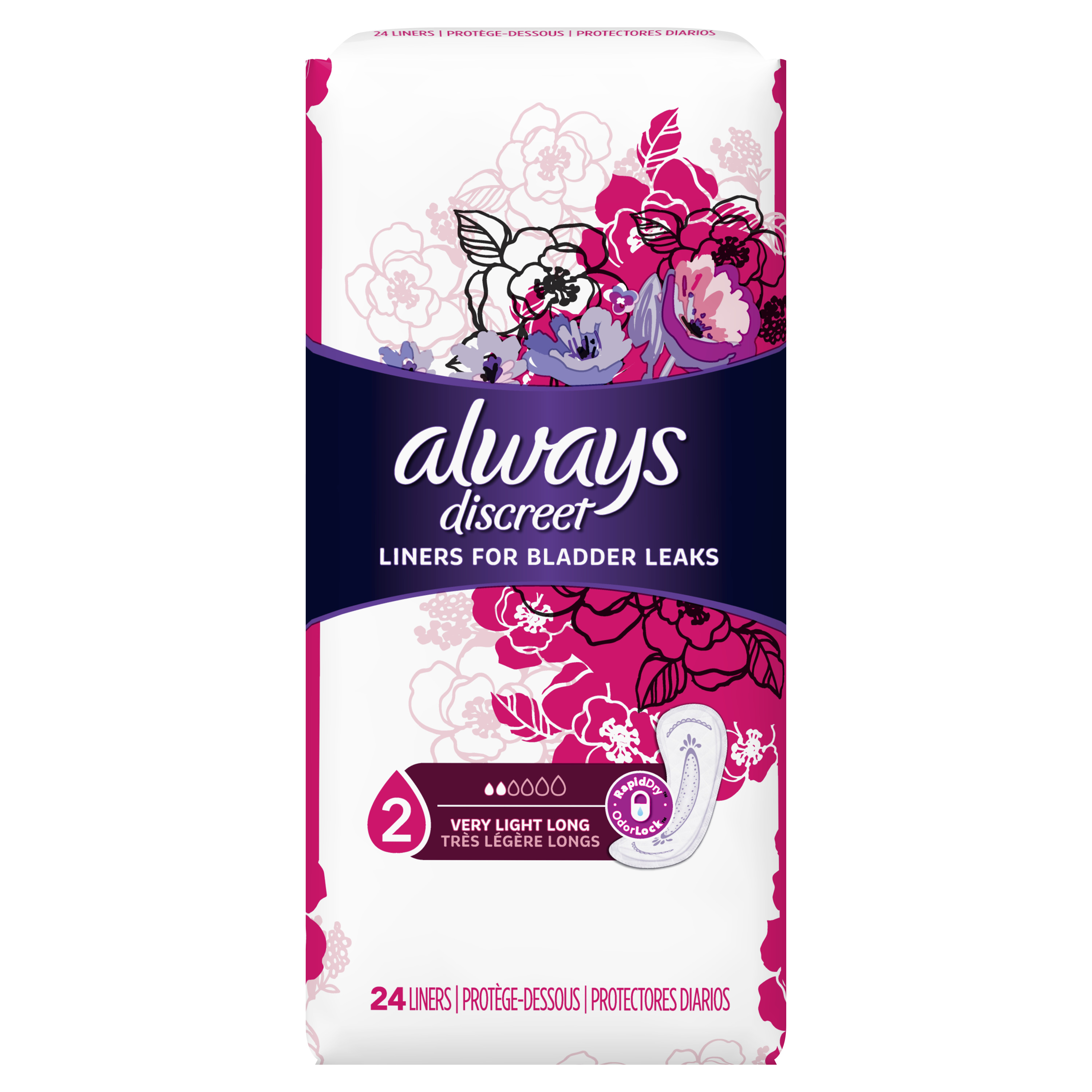 Always Discreet Incontinence Liners, Very Light Absorbency, Long Length, 24 Count