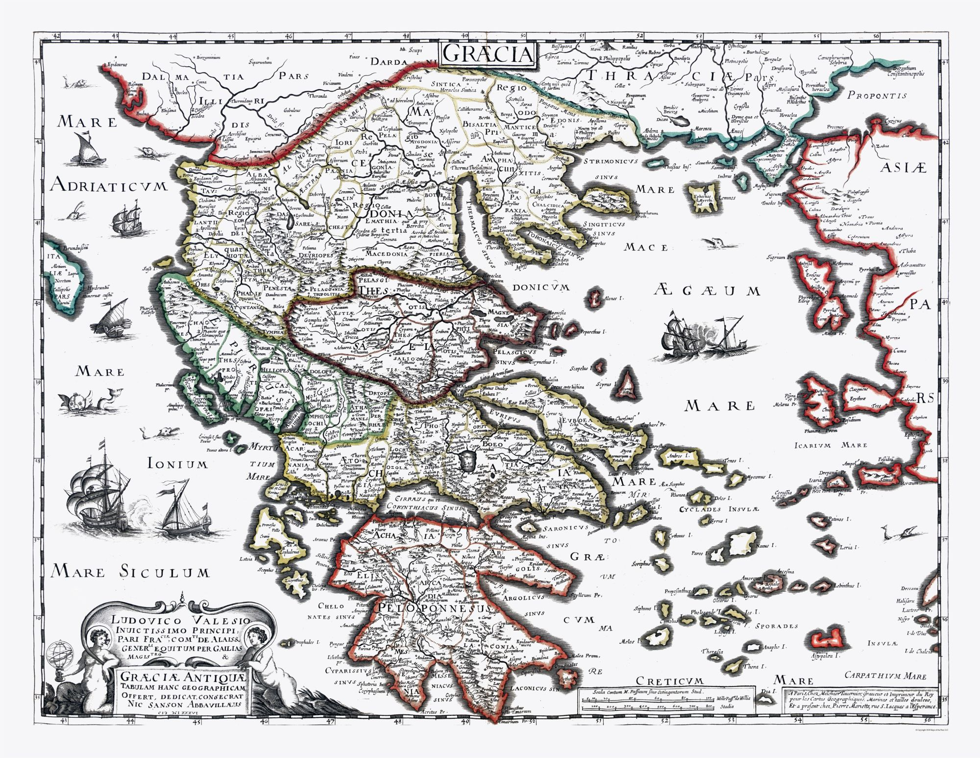 picture about Printable Map of Ancient Greece named World-wide Map - Historic Greece - Sanson 1641 - 29.75 x 23