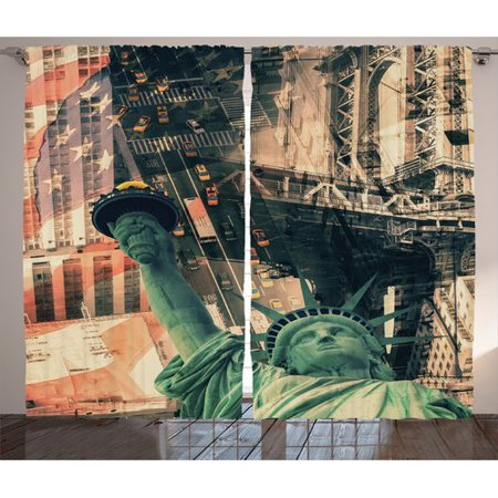 Statue Of Liberty View From Torch (Latitude Run Covey American New York City Street Liberty Statue and USA Flag Freedom Torch Illustration Graphic Print & Text Semi-Sheer Rod Pocket Curtain Panels (Set of)