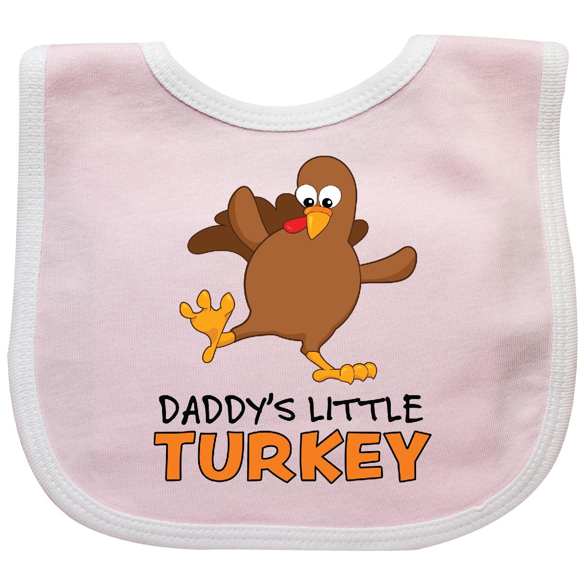 Inktastic Daddy's Little Turkey Baby Bib Thanksgiving Funny Feast Kids Child November Holiday Dancing Cute Adorable Sweet Kid Silly Goofy Son Daughter Dad Father Gift Clothing Infant