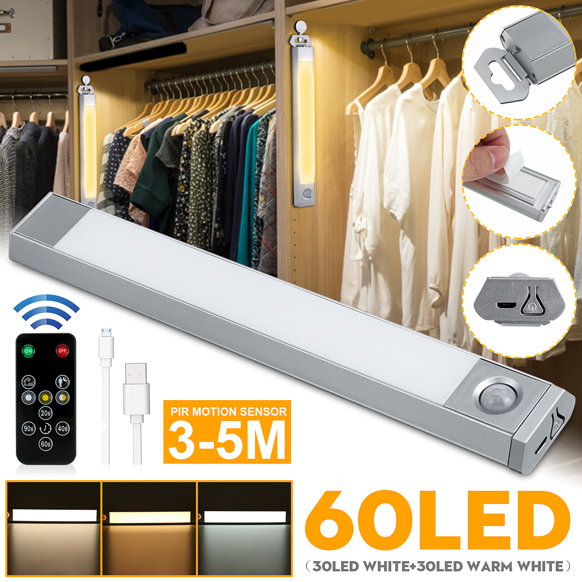 Wardrobe Closet LED Lights PIR Motion Sensor USB Rechargeable Cabinet Stair Lamp