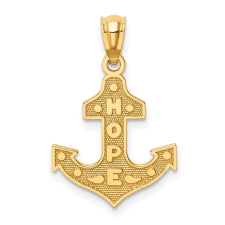 14k Yellow Gold Hope Nautical Anchor Ship Wheel Mariners Pendant Charm Necklace Religious Faith Charity Gifts For Women For Her 14k Gold Nautical Anchor