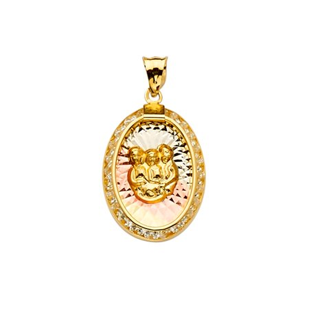 Ioka - 14K Tri Color Gold CZ Baptism Medal Religious Charm Pendant For Necklace or Chain