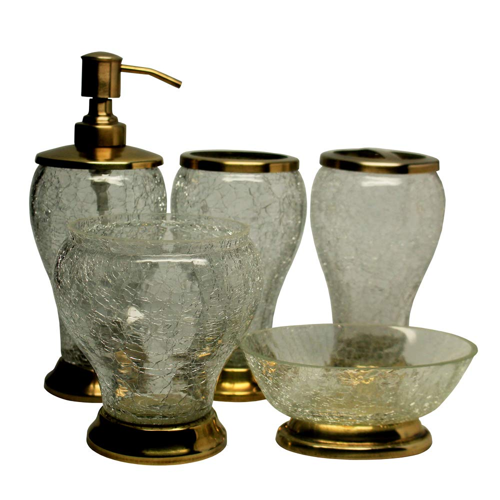 Edinburgh Collection HandCrafted Glass Crackle Bathroom Accessory Set 5 Pieces
