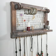 Sandinrayli Wall Mounted Jewelry Organizer Rustic Wood Jewelry Holder with Removable Hanging Rod and Storage Shelf for Earrings, Bracelets, Necklaces and Accessories